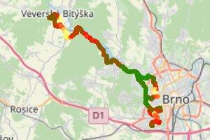 Brno —> Veverská Bítýška —> Brno (🚦2👎:3👍)